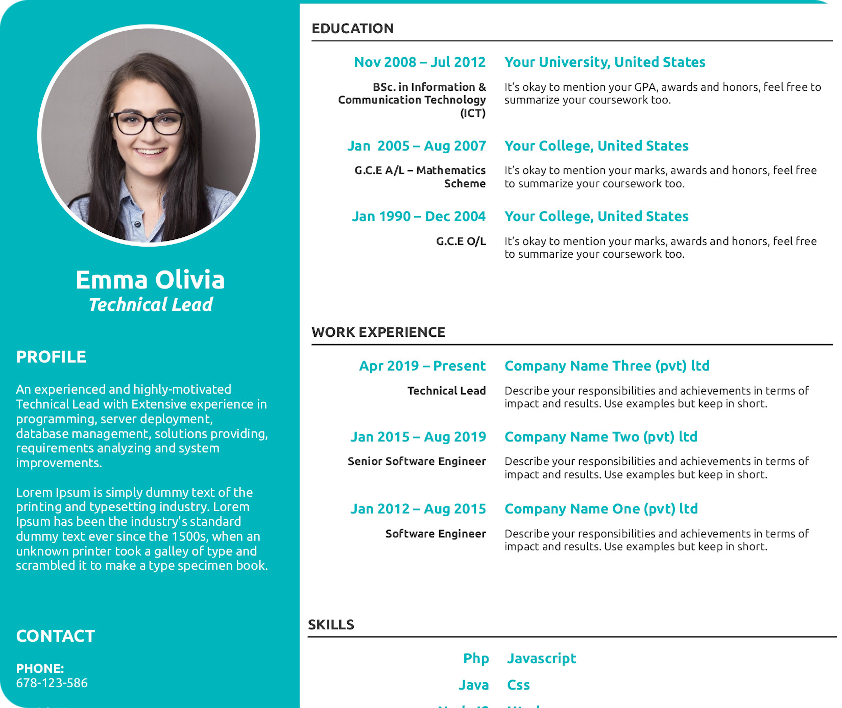 LibreOffice CV Template Style #3